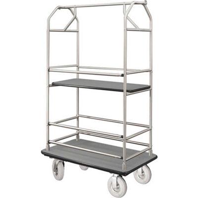 Glaro Bellman Condo Cart 40x25 Satin Aluminim Gray Carpet, 4 Pneumatic Wheels