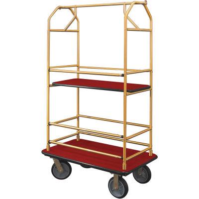Glaro Bellman Condo Cart 40x25 Satin Brass Burgundy Carpet, 4 Rubber Wheels