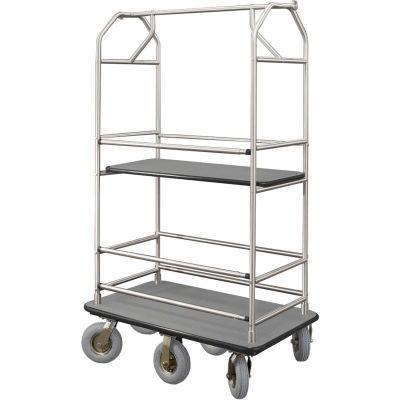 Glaro Bellman Condo Cart 48x25 Satin Aluminum Gray Carpet, 6 Pneumatic Wheels