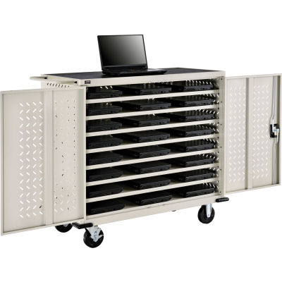 Global Industrial™ Mobile Charging Cart for 24 Chromebooks & Tablets, Putty, Unassembled