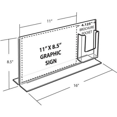 """Azar Displays 252054, Dbl Foot Acrylic Sign HLR W/Trifold Brochure Pockets, 14""""W x 11""""H"""