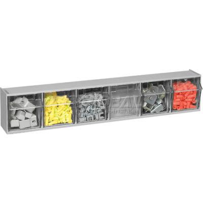 Quantum Tip Out Storage Bin QTB306 - 6 Compartments Gray