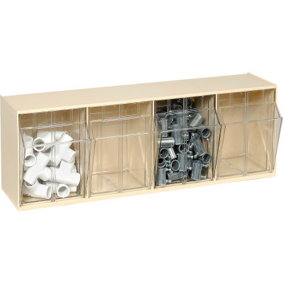 Quantum Tip Out Storage Bin QTB304 - 4 Compartments Ivory