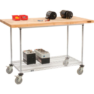 "Global Industrial™ 60""W x 30""D Mobile Workbench - Wire Rack - Maple Butcher Block Square Edge"