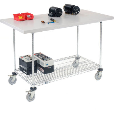 "Global Industrial™ 60""W x 30""D Mobile Workbench with Wire Rack - Plastic Laminate Square Edge"