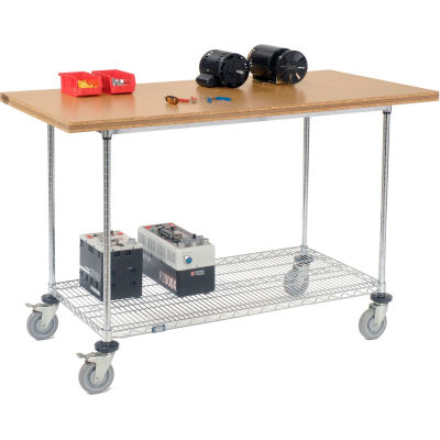 """Global Industrial™ 60""""W x 30""""D Mobile Workbench with Wire Rack - Shop Top Square Edge"""