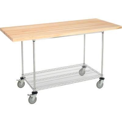 """Global Industrial™ 72""""W x 30""""D Mobile Workbench - Wire Rack - Maple Butcher Block Square Edge"""