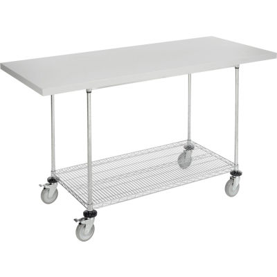 "Global Industrial™ 72""W x 30""D Mobile Workbench with Wire Rack - Plastic Laminate Square Edge"