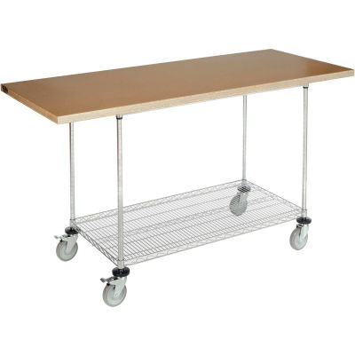 """Global Industrial™ 72""""W x 30""""D Mobile Workbench with Wire Rack - Shop Top Square Edge"""