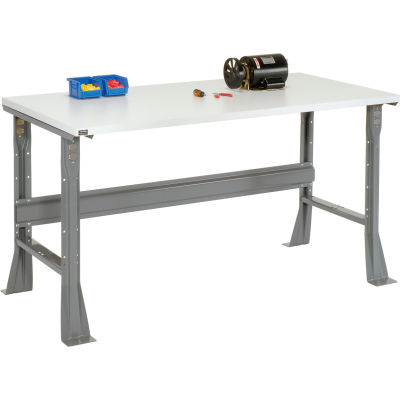 Global Industrial™ 72 x 36 x 34 Fixed Height Workbench Flared Leg - ESD Square Edge - Gray