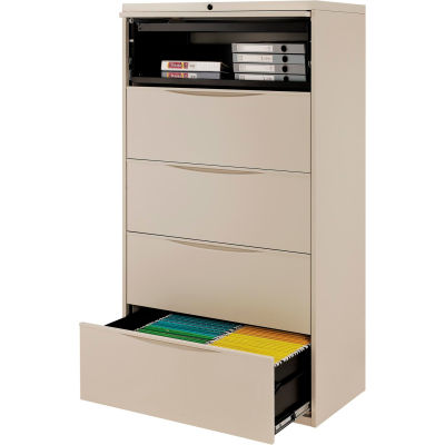 """Interion® 36"""" Premium Lateral File Cabinet 5 Drawer Putty"""