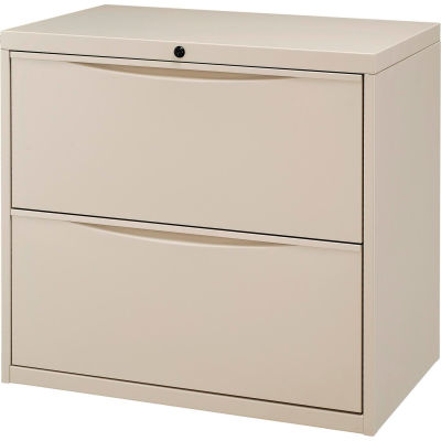 "Interion® 30"" Premium Lateral File Cabinet 2 Drawer Putty"