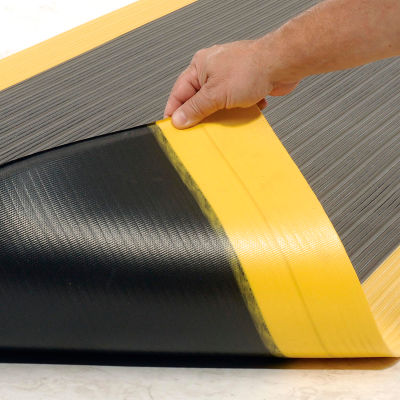 """NoTrax® Achilles™ Surface Mat 5/8"""" Thick 2' x Up to 30' Black/Yellow Border"""