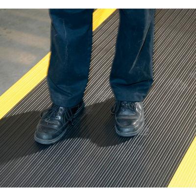 "Apache Mills Soft Foot™ Ribbed Surface Mat 3/8"" Thick 4' x 60' Black/Yellow Border"