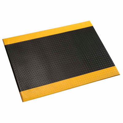 "Apache Mills Diamond Deluxe Soft Foot™ Mat 1/2"" Thick 2' x 60' Black/Yellow Border"