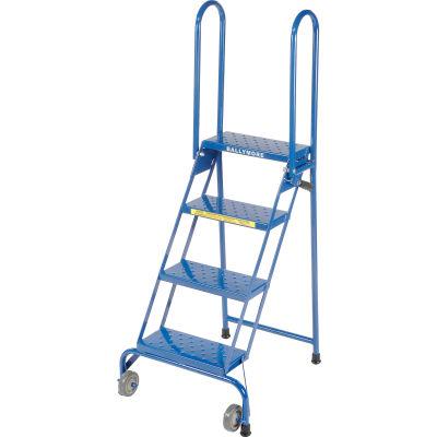 Ballymore 4 Step Lock-N-Stock Folding Rolling Ladder, 350 Lb. Capacity