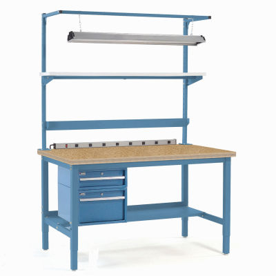 """48""""W x 30""""D Adjustable Height Workbench Square Tubular Leg - Shop Top Safety Edge - Blue"""