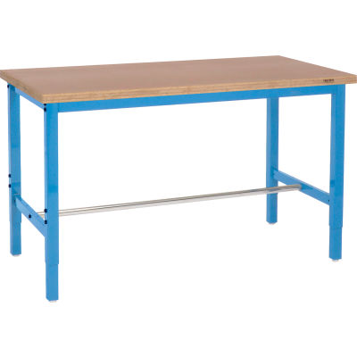 "96""W x 30""D Adjustable Height Workbench Square Tubular Leg - Shop Top Square Edge - Blue"