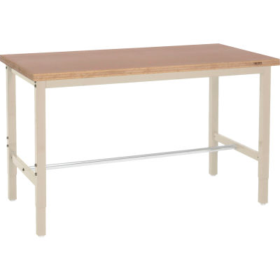Global Industrial™ 96x36 Adjustable Height Workbench Square Tube Leg - Shop Top Square Edge Tan