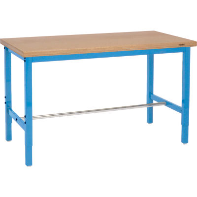 Global Industrial™ 72x30 Adjustable Height Workbench Square Tube Leg, Shop Top Safety Edge Blue