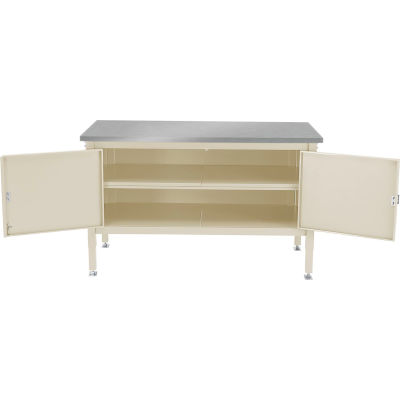 Global Industrial™ 72 x 30 Security Cabinet Bench - Stainless Square Edge