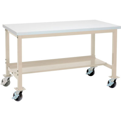 """72""""W x 36""""D Mobile Production Workbench - ESD Square Edge - Tan"""