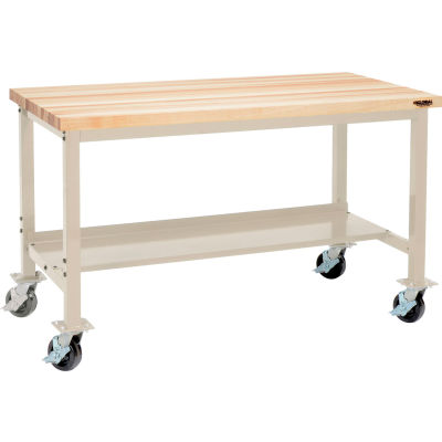 Global Industrial™ 72 x 30 Mobile Production Workbench - Maple Butcher Block Square Edge -Tan