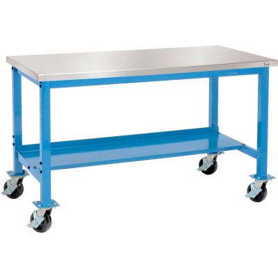 "Global Industrial™ 72""W x 30""D Mobile Production Workbench - Stainless Steel - Blue"