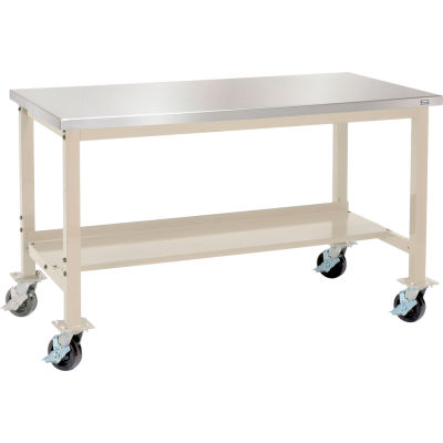 "Global Industrial™ 72""W x 30""D Mobile Production Workbench - Stainless Steel -Tan"