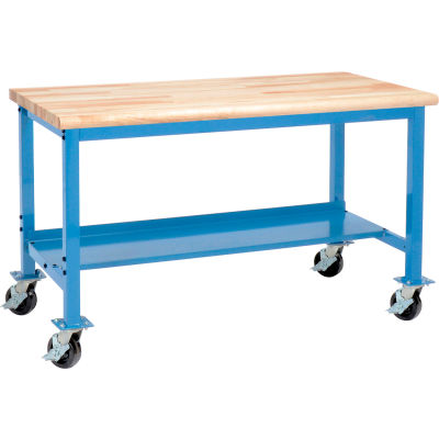 Global Industrial™ 60 x 30 Mobile Production Workbench - Maple Butcher Block Safety Edge - Blue