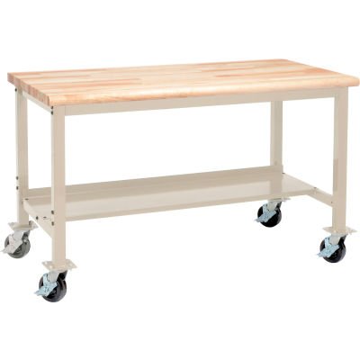 Global Industrial™ 72 x 30 Mobile Production Workbench - Maple Butcher Block Safety Edge -Tan