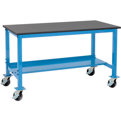 """60""""W x 30""""D Mobile Production Workbench - Phenolic Resin Safety Edge - Blue"""