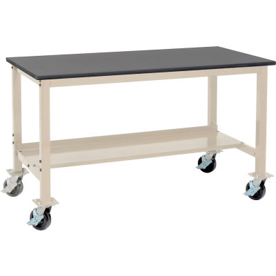 """Global Industrial™ 60""""W x 30""""D Mobile Production Workbench - Phenolic Resin Safety Edge - Tan"""
