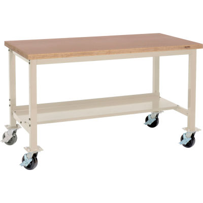 """Global Industrial™ 72""""W x 30""""D Mobile Production Workbench - Shop Top Square Edge - Tan"""