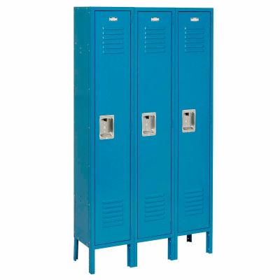 """Global Industrial™ Infinity® Single Tier 3 Door Locker, 12""""Wx15""""Dx60""""H, Blue, Unassembled"""