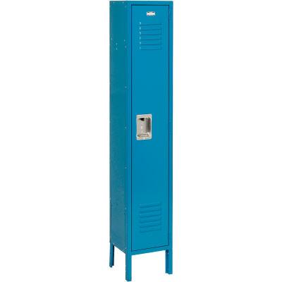 """Global Industrial™ Infinity® Single Tier 1 Door Locker, 15""""Wx18""""Dx72""""H, Blue, Unassembled"""