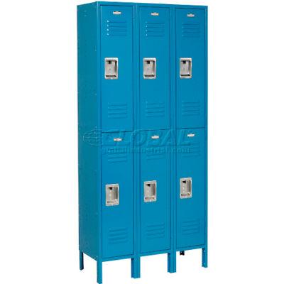 """Global Industrial™ Infinity® Double Tier 6 Door Locker, 12""""Wx15""""Dx36""""H, Blue, Unassembled"""