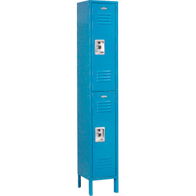 "Global Industrial™ Infinity® Double Tier 2 Door Locker, 12""Wx18""Dx36""H, Blue, Unassembled"