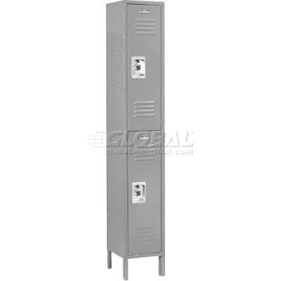 Infinity™ Metal Locker Double Tier 12x12x36 2 Door Ready To Assemble Gray