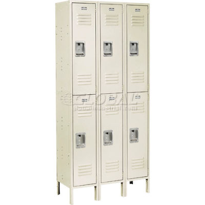 "Global Industrial™ Infinity® Double Tier 6 Door Locker, 12""Wx18""Dx36""H, Tan, Unassembled"