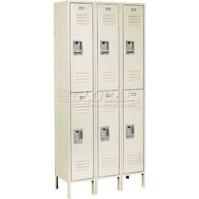 """Global Industrial™ Infinity® Double Tier 6 Door Locker, 12""""Wx12""""Dx36""""H, Tan, Unassembled"""
