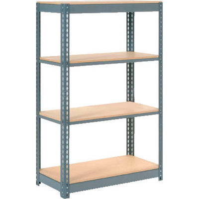 "Heavy Duty Shelving 36""W x 18""D x 60""H With 4 Shelves - Wood Deck - Gray"