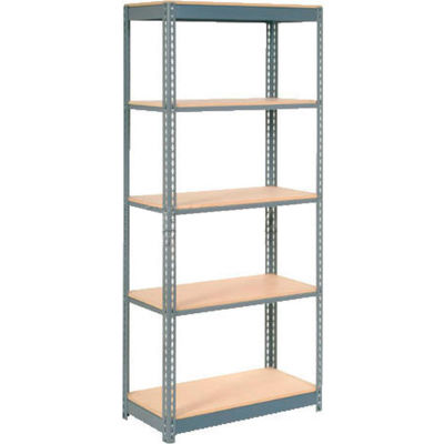 """Heavy Duty Shelving 36""""W x 24""""D x 84""""H With 5 Shelves - Wood Deck - Gray"""