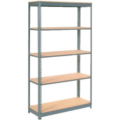 """Global Industrial™ Heavy Duty Shelving 48""""W x 18""""D x 96""""H With 5 Shelves - Wood Deck - Gray"""