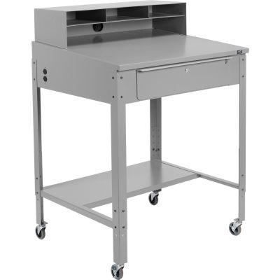 Global Industrial™ Mobile Shop Desk - Pigeonhole Riser 34-1/2 x 30 x 38 Sloped Surface - Gray