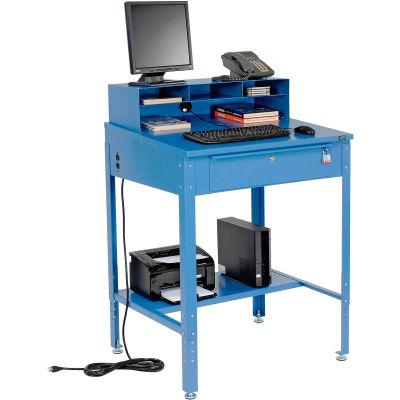 "Global Industrial™ Shop Desk - Pigeonhole Riser 34-1/2""W x 30""D x 38""H Sloped Surface - Blue"