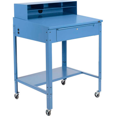 Global Industrial™ Mobile Shop Desk - Pigeonhole Riser 34-1/2 x 30 x 38 Sloped Surface - Blue