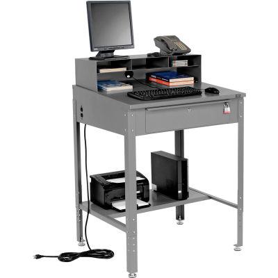 "Global Industrial™ Sloped Shop Desk w/ Pigeonhole Riser, 34-1/2""W x 30""D, Gray"