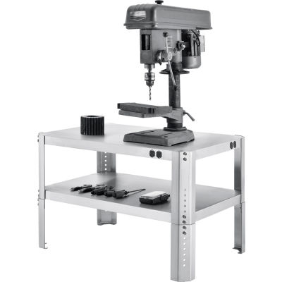 """Global Industrial™ Adjustable Height Shop Stand, 16 Ga. 430 Stainless Steel, 36""""Wx24""""Dx18-24""""H"""