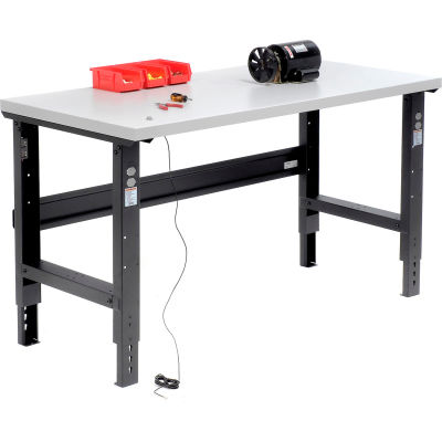 """Global Industrial™ Adjustable Height C-Channel Leg Workbench, ESD Square Edge, Black, 60"""" x 30"""""""